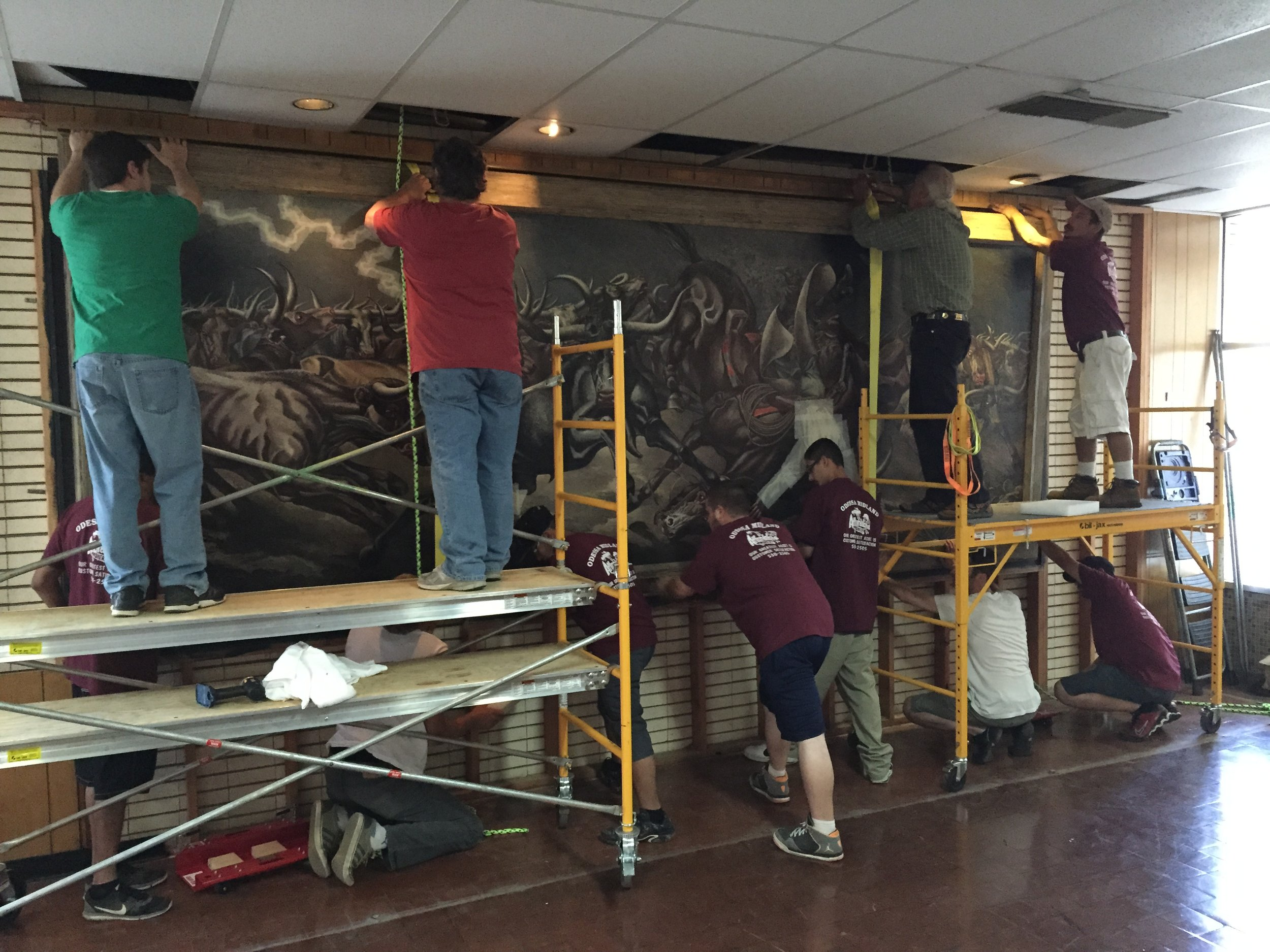 The Tom Lea mural being removed for restoration. - July 30, 2015