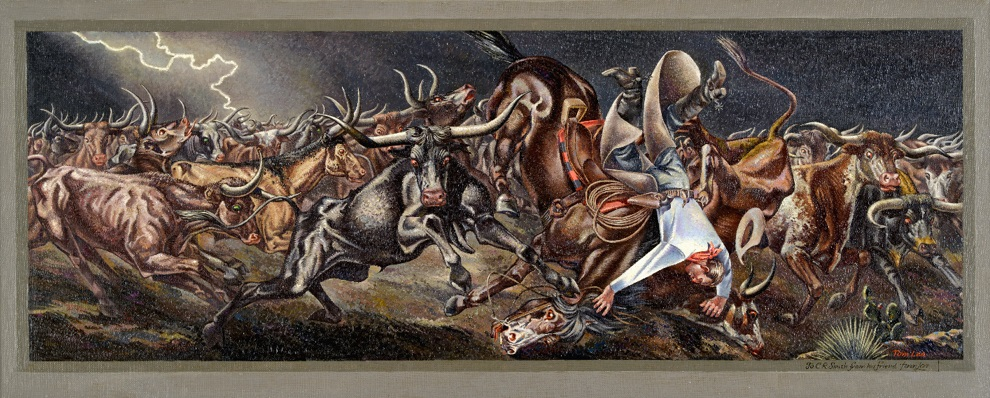 Study for Stampede - Tom Lea, Study for Stampede, 1940, oil on canvas, 14 3/8 x 34 1/4 in., Blanton Museum of Art, The University of Texas at Austin, Gift of C.R. Smith, 1976
