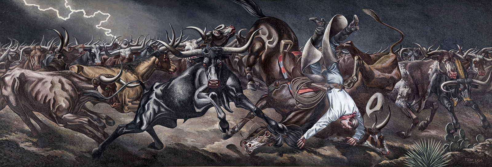 Tom Lea,  Stampede , 1940, oil on canvas, 7' x 17', on loan and displayed with permission from the United States Postal Service