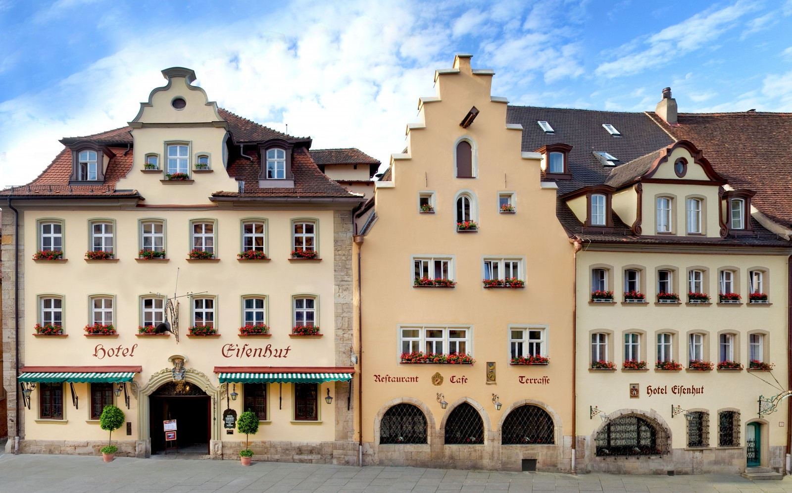 Hotel Eisenhut  fits perfectly into the historic architecture of Rothenburg.