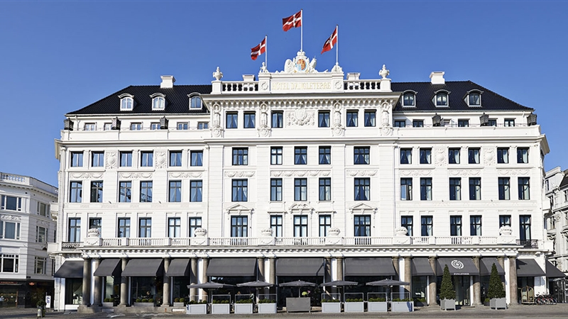 The front view of the  Hotel d'Angleterre  in Copenhagen is a beautiful and arresting sight.