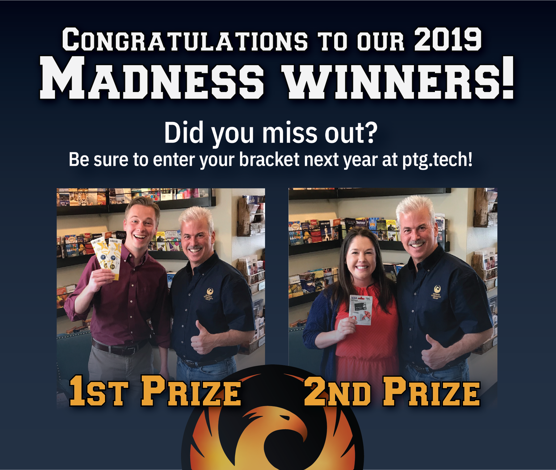 Our main man Mike Fisher delivered some great Nuggets tickets and a couple of $50 gift cards to the two people that predicted their NCAA brackets most accurately! If you missed your chance this year, check back next spring to submit yours for a chance to win some cool stuff!