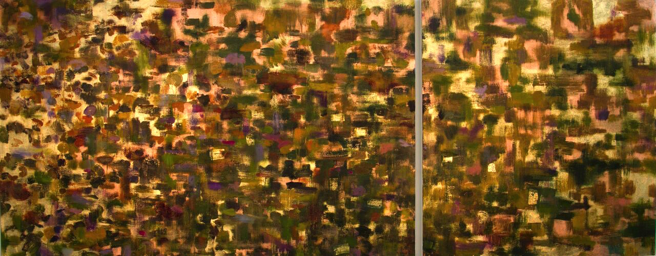 Fall#38 x 95 in. total, diptych
