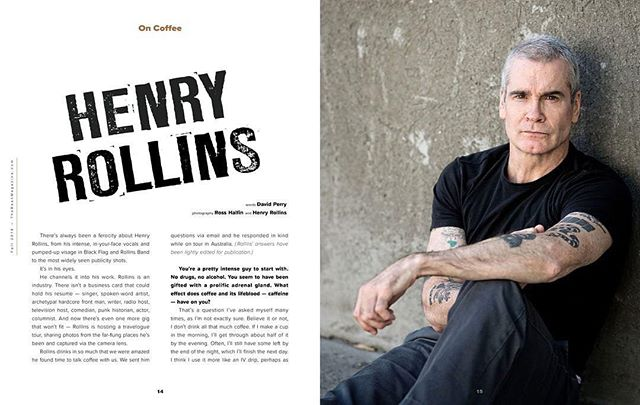 Check out @thebean_magazine interview with Henry Rollins from our inaugural issue. Love this guy. Photo by @rosshalfin @henryandheidi #coffeelover #punkrock