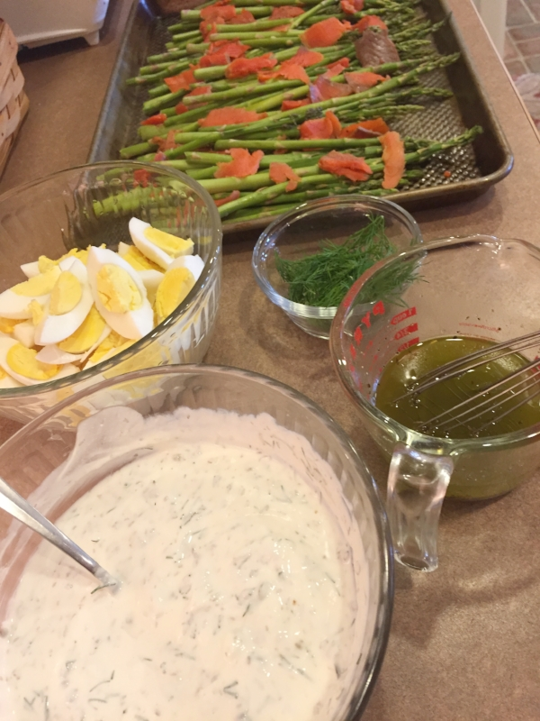 All the components of the Roasted Asparagus dish ready to be combined and served up on a pretty platter for Easter dinner!