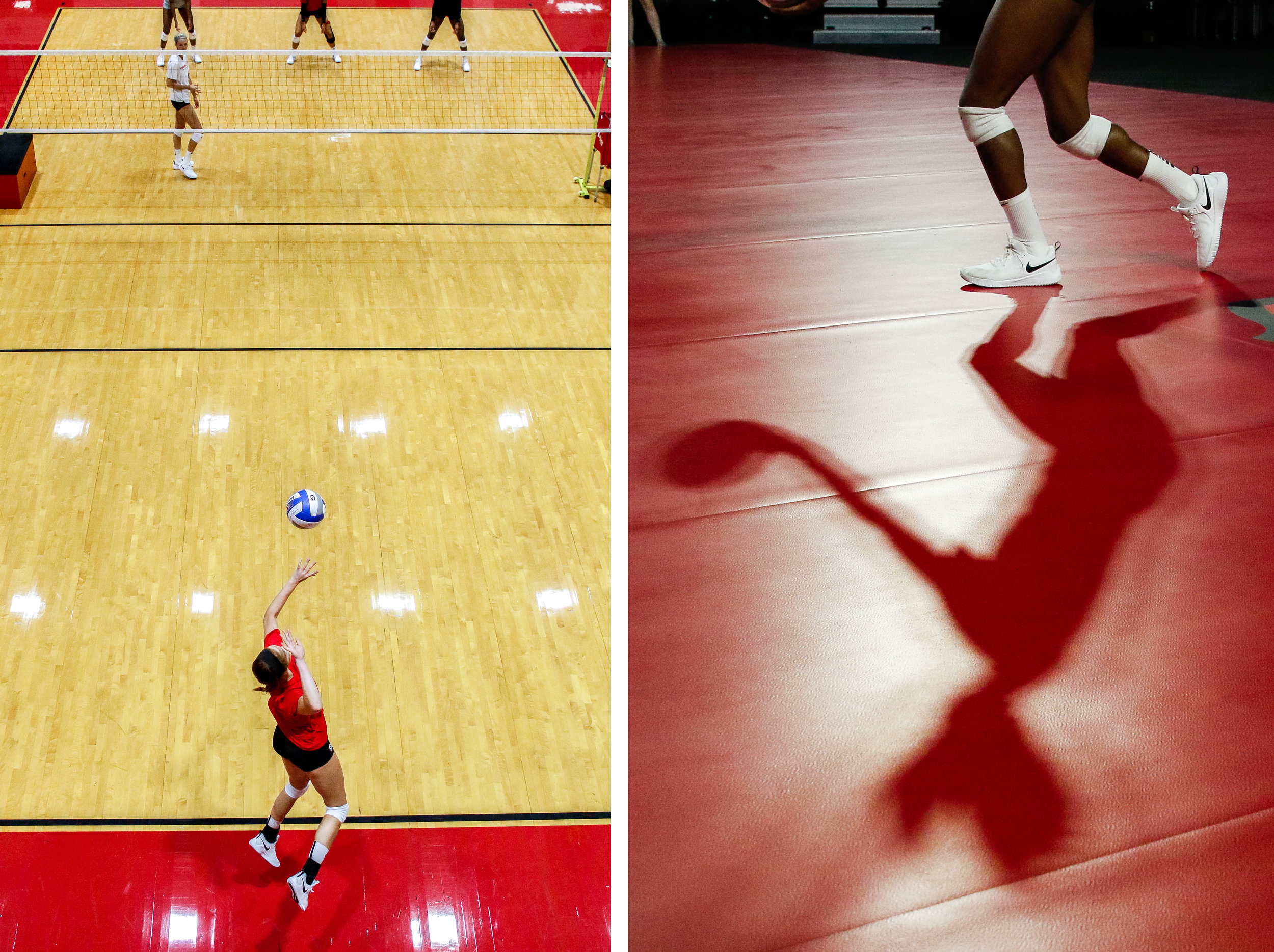 (Left): Georgia middle blocker Kianna Young (17) serves during their first practice of the season in Athens, Ga., on Monday, August 6, 2018.   (Right): Georgia outside hitter T'ara Ceasar (1) serves during their first scrimmage of the season in Athens, Ga., on Saturday, August 18, 2018.