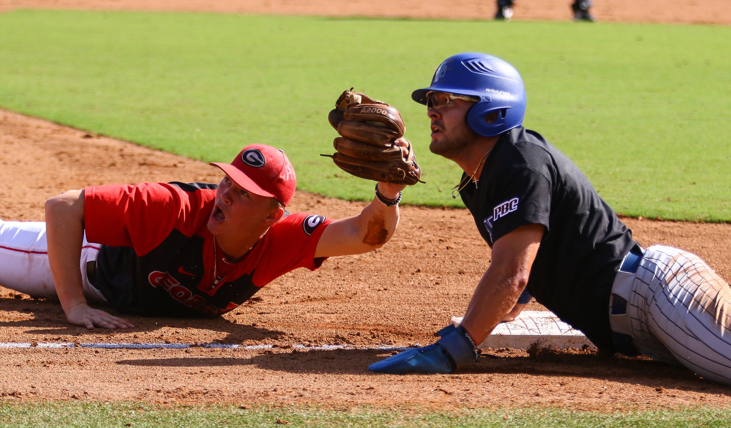 Georgia third baseman Aaron Schunk (22) looks to the umpire to confirm his tag during an exhibition game between the University of Georgia Bulldogs and the University of North Georgia Night Hawks at Foley Field on Sunday, Sept. 30, 2018.