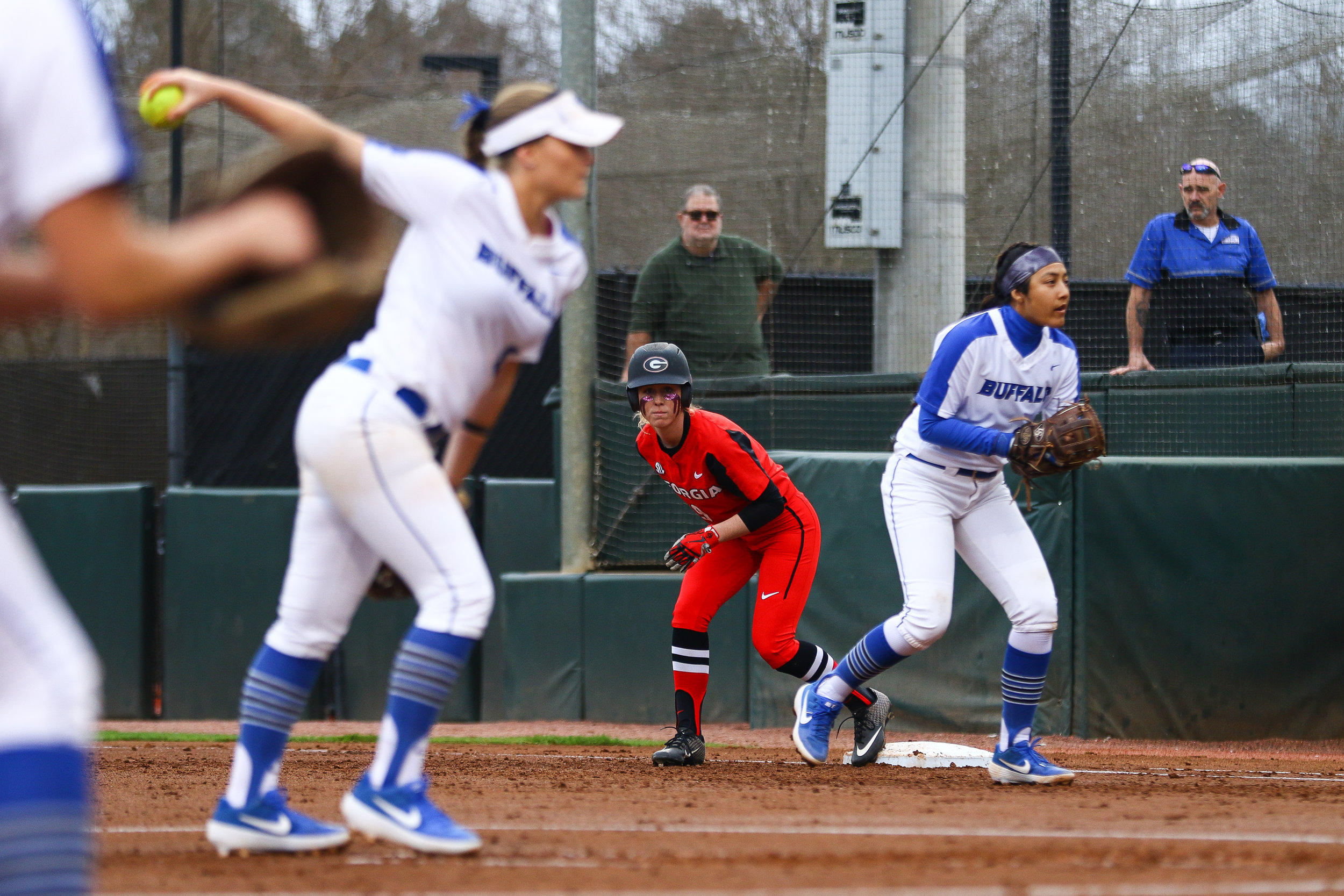 Georgia outfielder Alysen Febrey (9) leads off of first base during Georgia softball's home opener against the University of Buffalo in Athens, Ga., on Thursday, Feb. 14, 2019.
