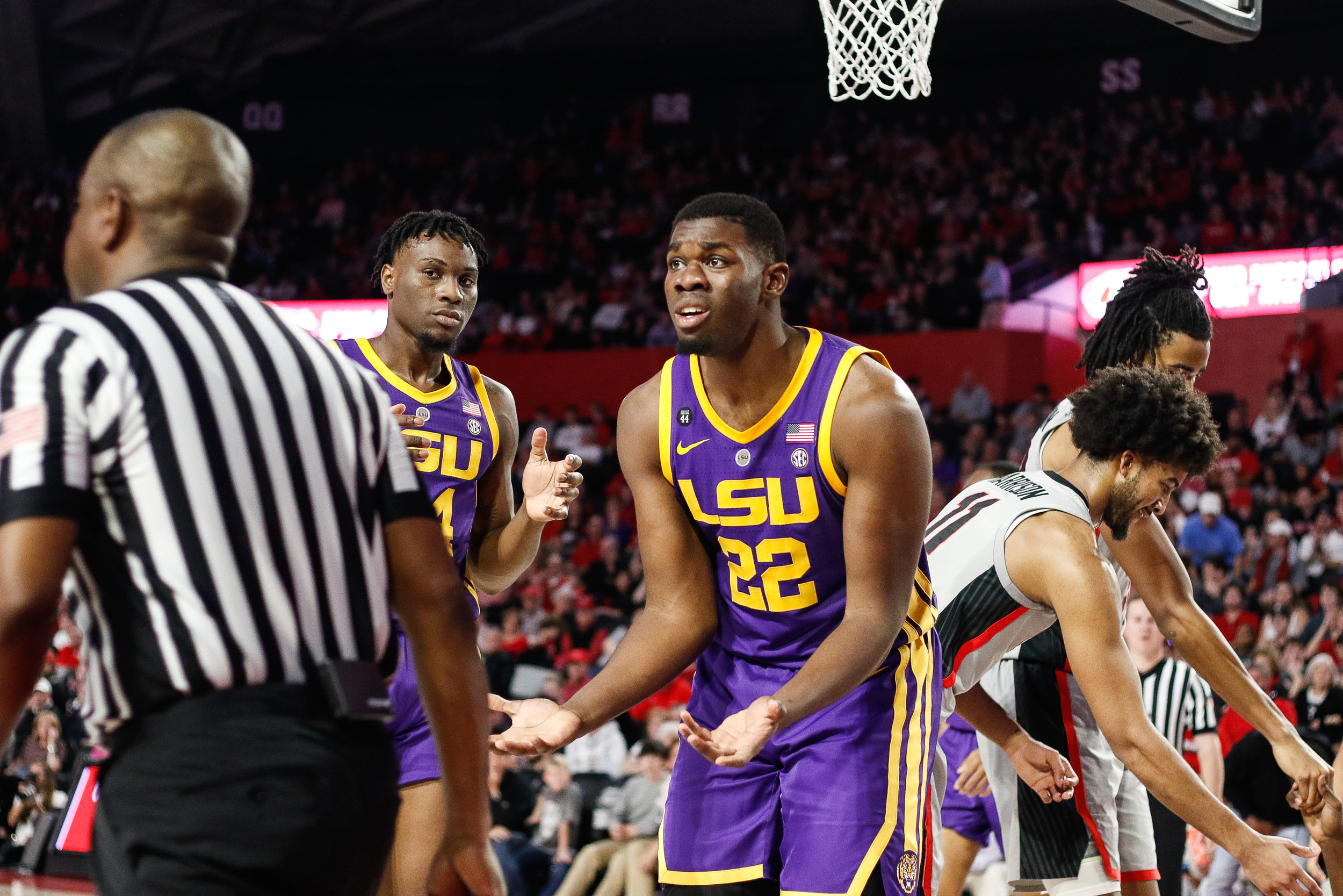 Louisiana forward Darius Days (22) looks to the referee in disbelief of a call during a men's basketball game between the University of Georgia in Stegeman Coliseum on Saturday, Feb. 16, 2019.