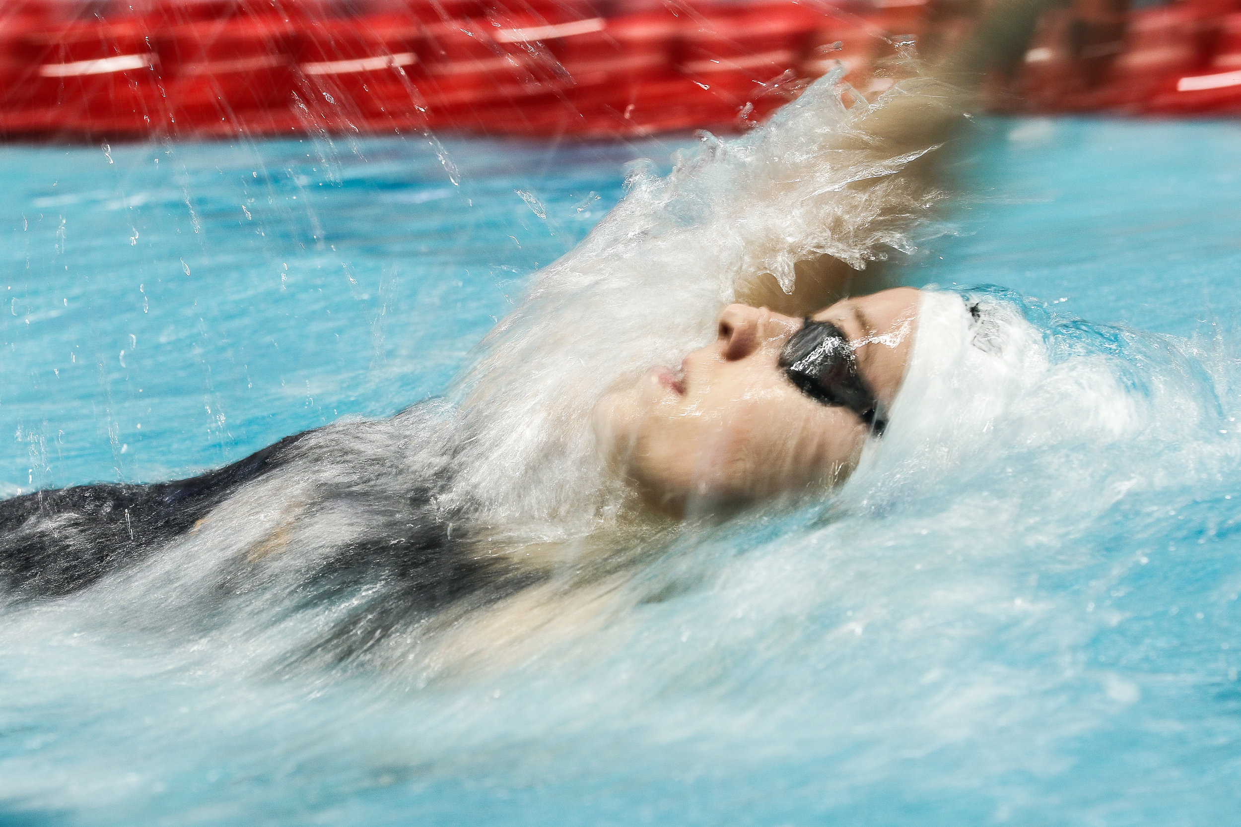 A member of the women's University of Tennessee swim team competes during day two of the SEC Swimming and Diving Championship in Athens, Ga., on Wednesday, Feb. 20, 2019.
