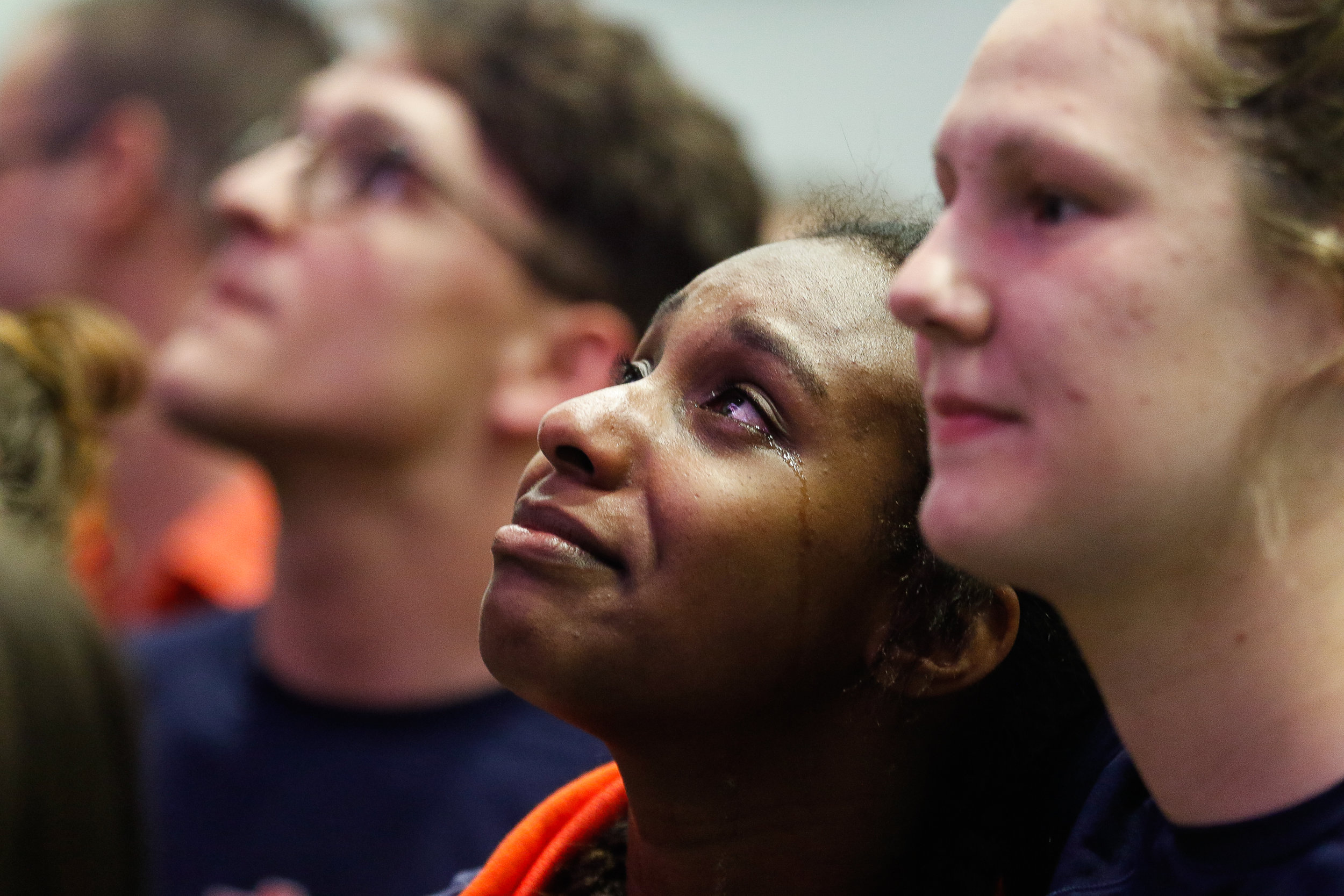 Auburn sophomore Jewels Harris sheds a tear as she watches her teammates receive gold for the Women's 400 Free Relay at the 2019 Swimming and Diving SEC Championship in Athens, Ga., on Saturday, Feb. 23, 2019. Finishing at 3:10.45, Auburn set both a school and SEC record.