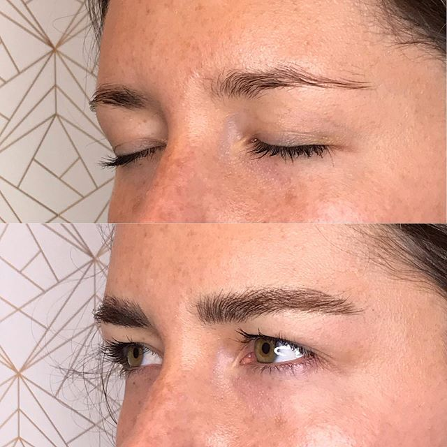 Today's make over. Building up that fluff! Thank you Ashley!✨🖤✨ : : : :  #fluffybrows #beforeandafter #microblading #browtransformation #brows #browbabe #permanentmakeup #hairstrokes #realistictattoo #eyebrowtattoo #browmakeover #cosmetictattoo #cosmetictattooing #featherbrows #browsonpoint #fluffybrows #pmu #naturalbrows #browsnyc