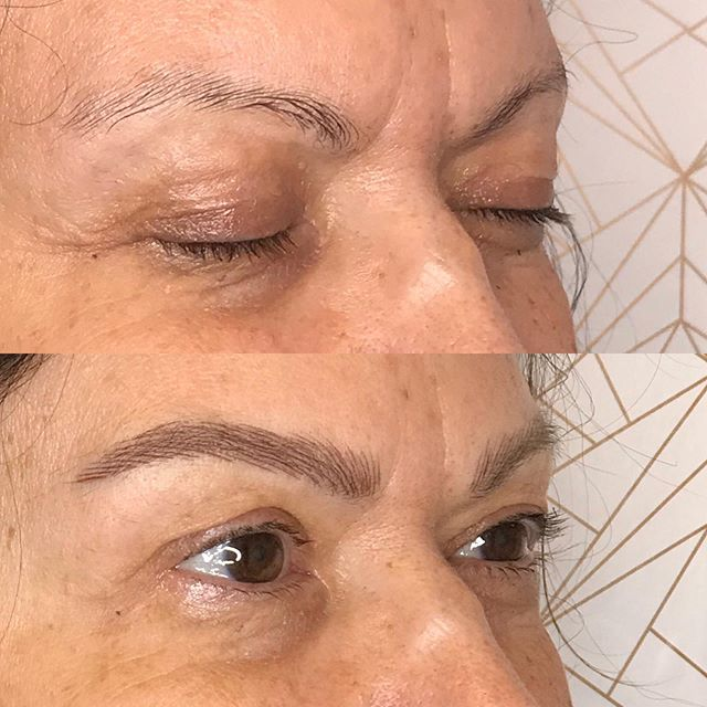 What a difference brows make! ✨First session on Marian. Can't wait for her touch up to complete her new brows! 🌹 : : : : :  #fluffybrows #beforeandafter #microblading #browtransformation #brows #browbabe #permanentmakeup #hairstrokes #realistictattoo #eyebrowtattoo #browmakeover #cosmetictattoo #cosmetictattooing #featherbrows #browsonpoint #fluffybrows #pmu #naturalbrows #browsnyc