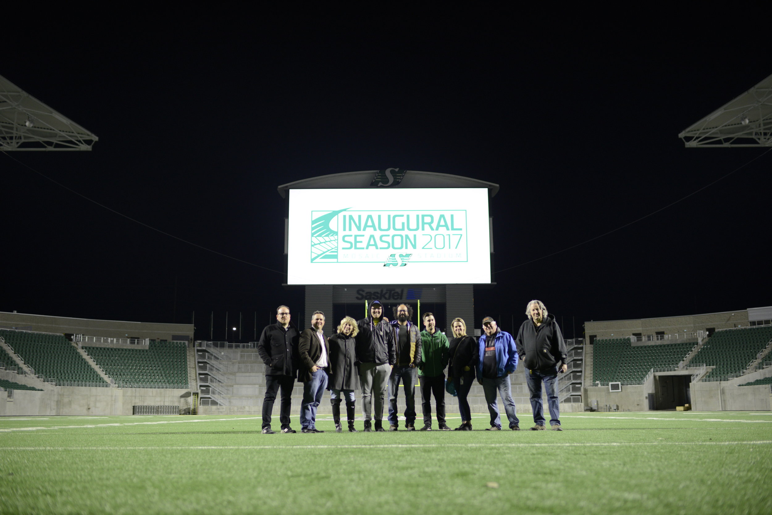 From left to right: Ante Kovac (Director), Matt Gillespie (Joe Media CEO), Karen Sveinson (Producer), Corey McLean (Best Boy/Genny Op),   Adrian Traquair (Art Department), Gregg Sauter (VP of Marketing with Saskatchewan Roughriders), Miriam Johnson (Director of Marketing with Saskatchewan Roughriders), Murray MacDonald (Production Manager), Peter LaRocque (Gaffer)