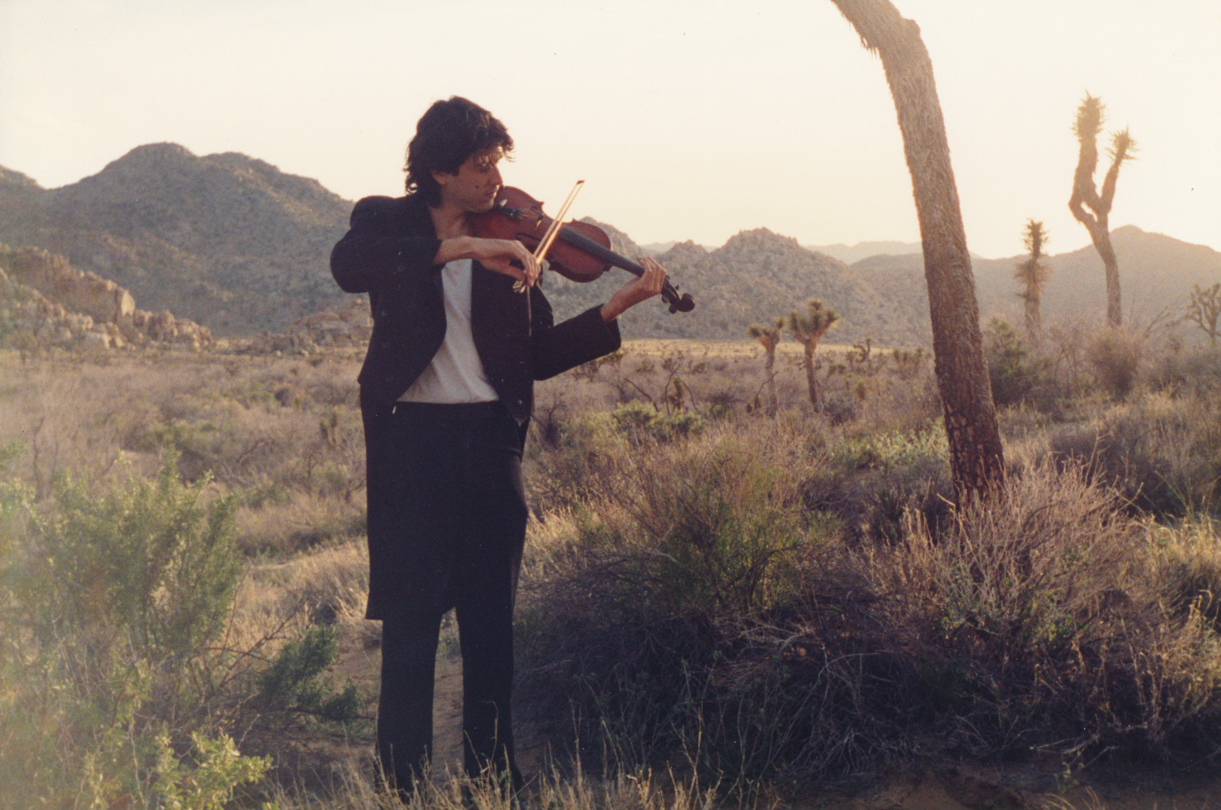 Practicing the violin in Joshua Tree, CA.