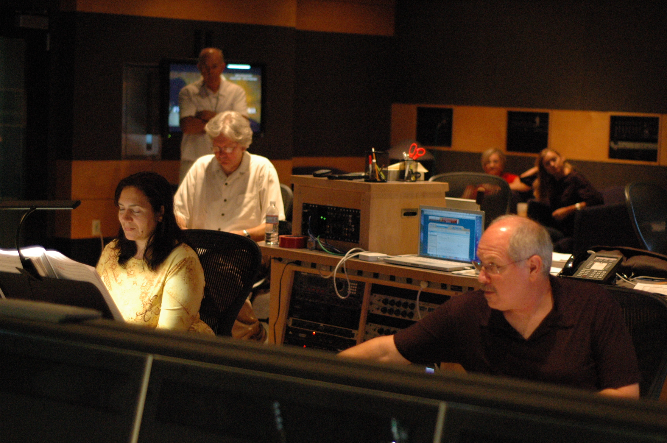 From left to right:   Penka Kouneva, Pat Russ (behind), orchestrators  Dennis Sands, score mixer