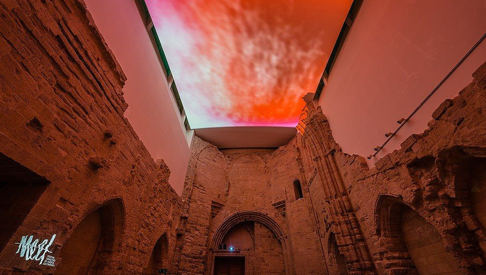 Projections by Ana Cubero in Patio Herreriano Museum, Valladolid, 2014. Photo by Juan Carlos Quindós.