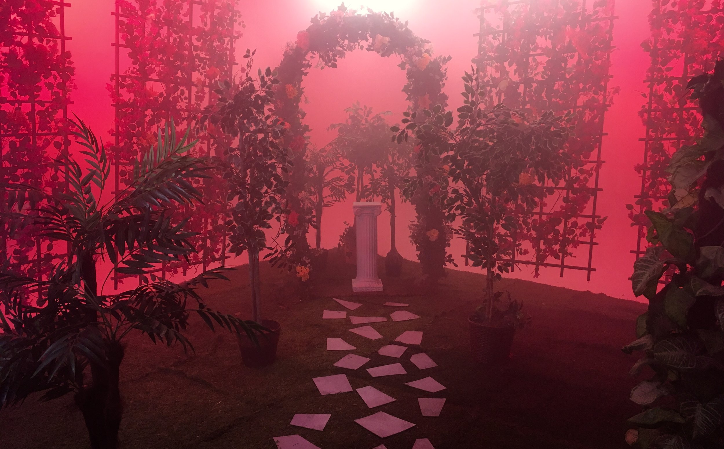Secret Garden scene with pedestal for main prop