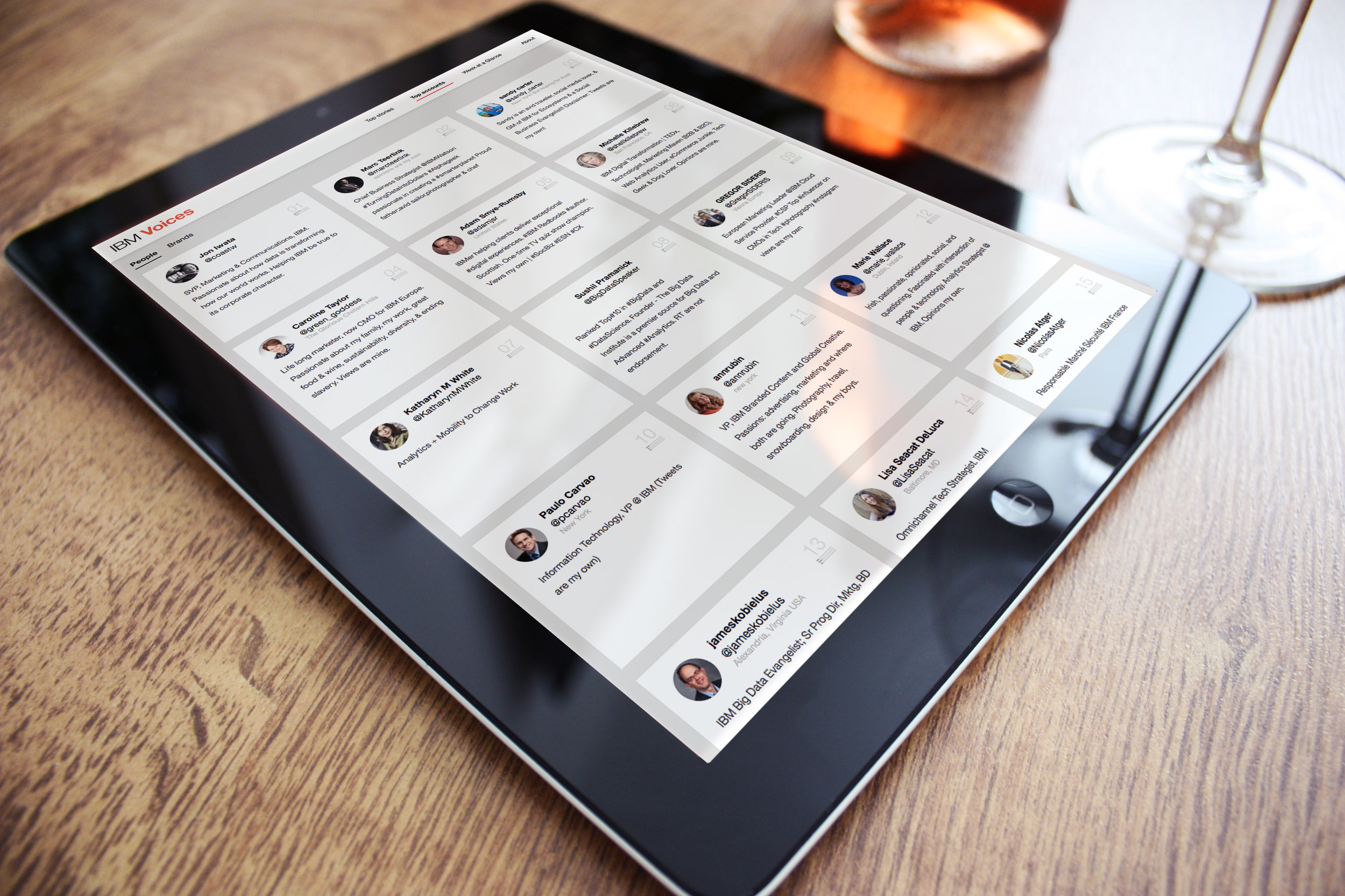 Influencer view on tablet