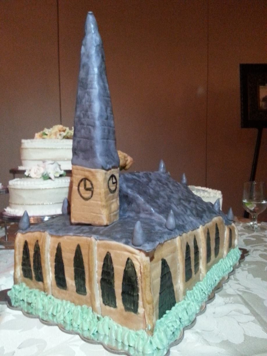 This anniversary cake is modeled after the church the couple was married in.
