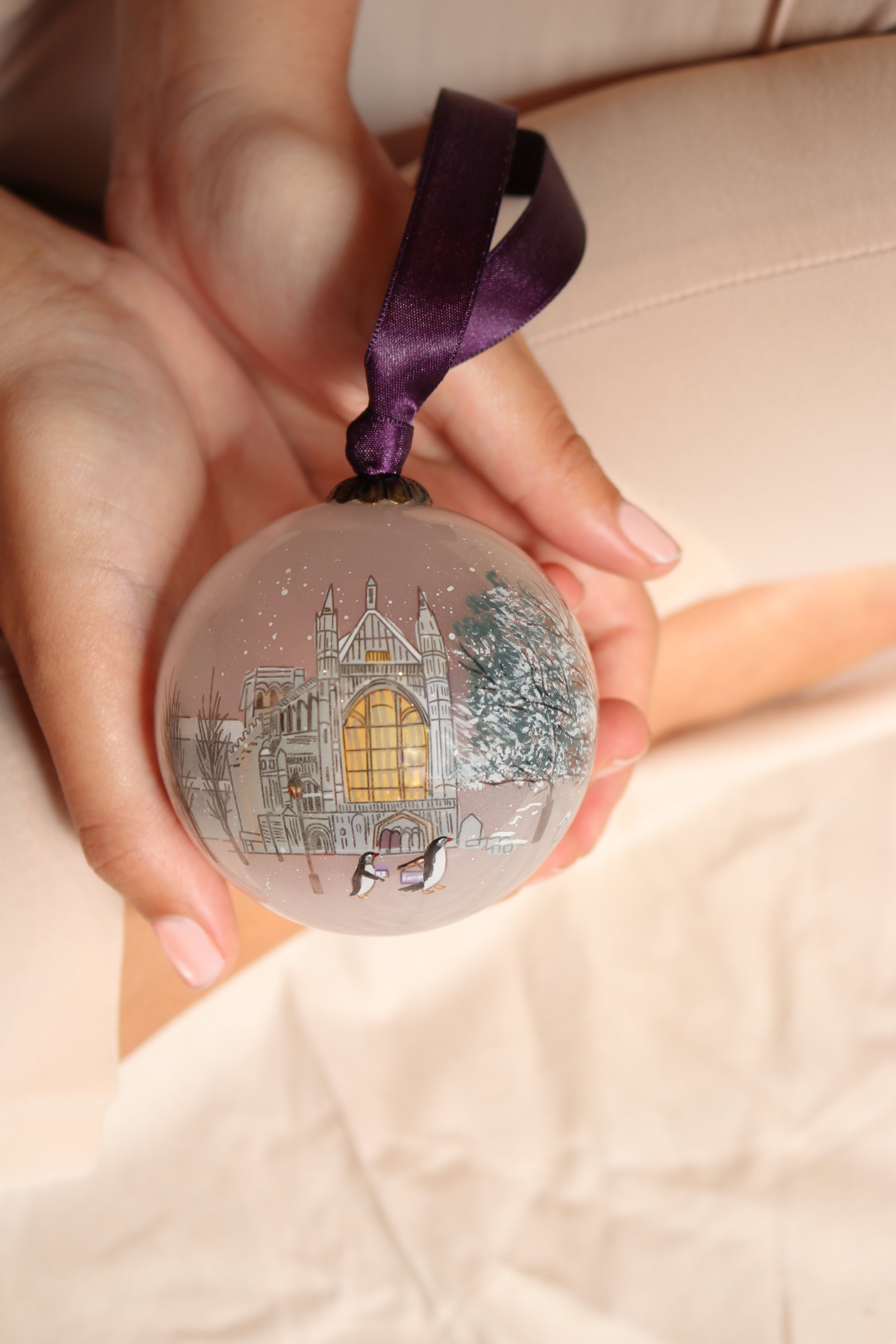 The Winchester Cathedral Chorister  Hand painted glass bauble £25