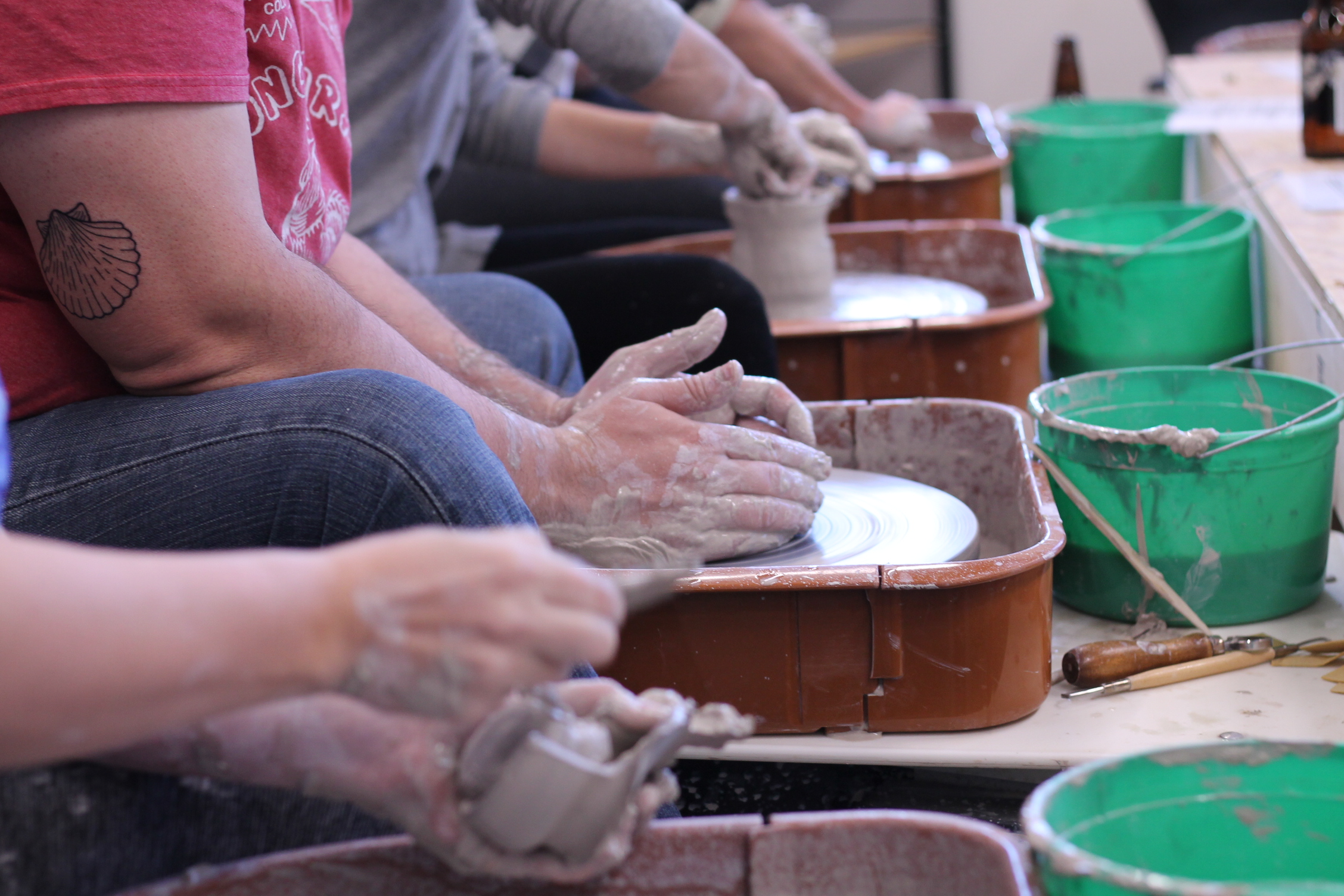 Pottery Wheel - students at work.JPG