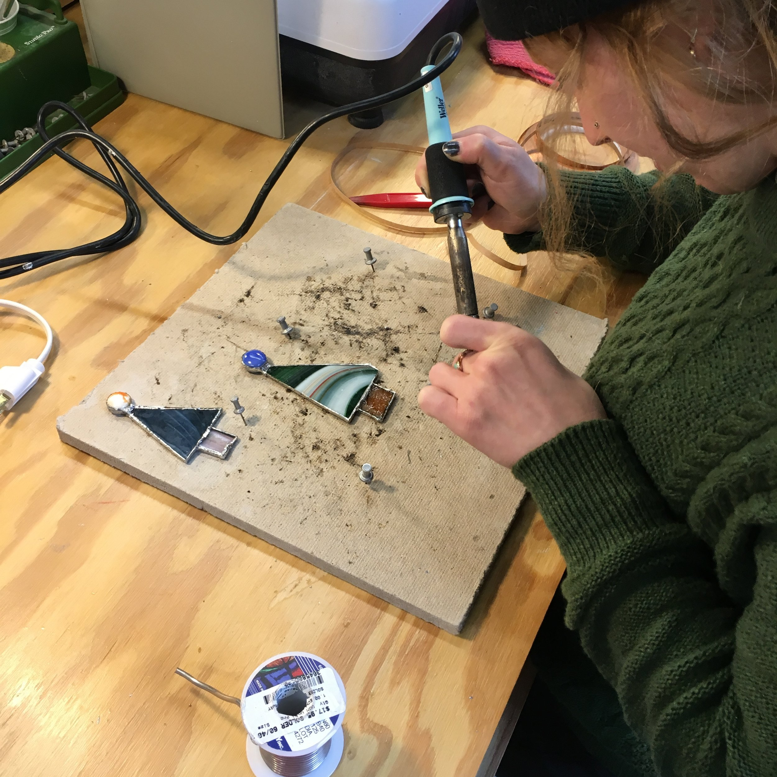 StainedGlass - soldering Christmas ornaments.JPG