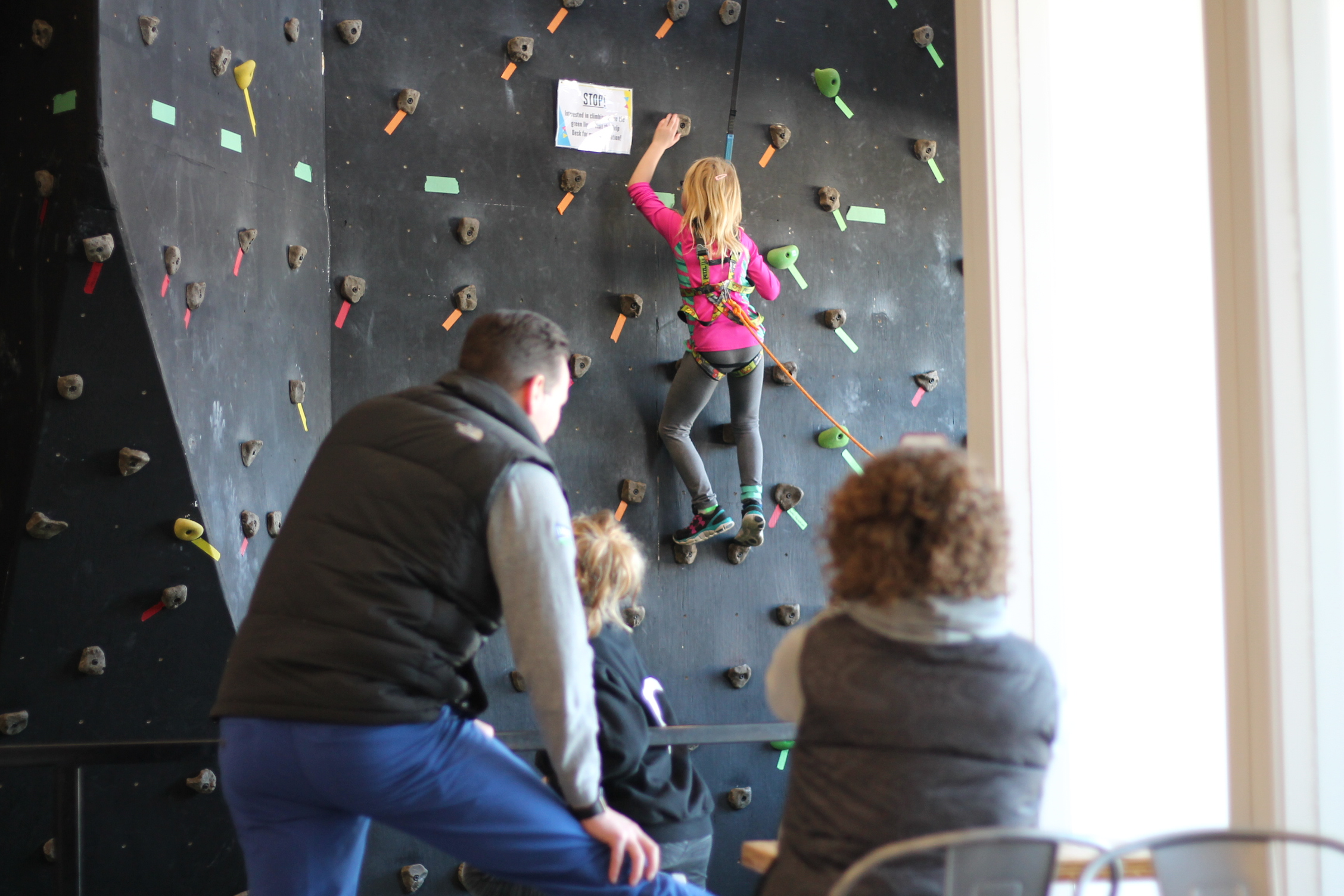 Climbing Lab - family watching girl climb.JPG