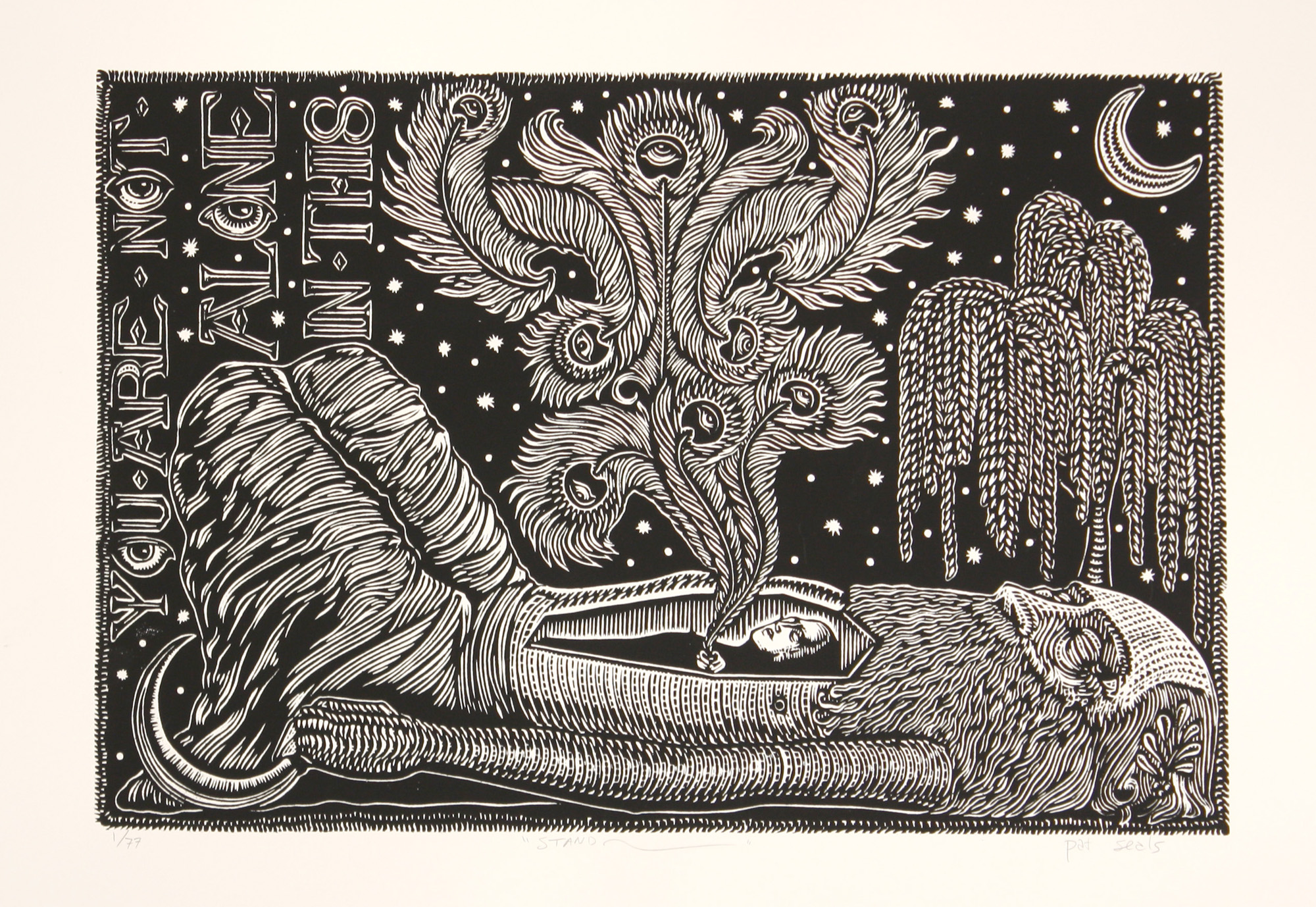 Pat Seals   Stand   woodcut  edition of 77