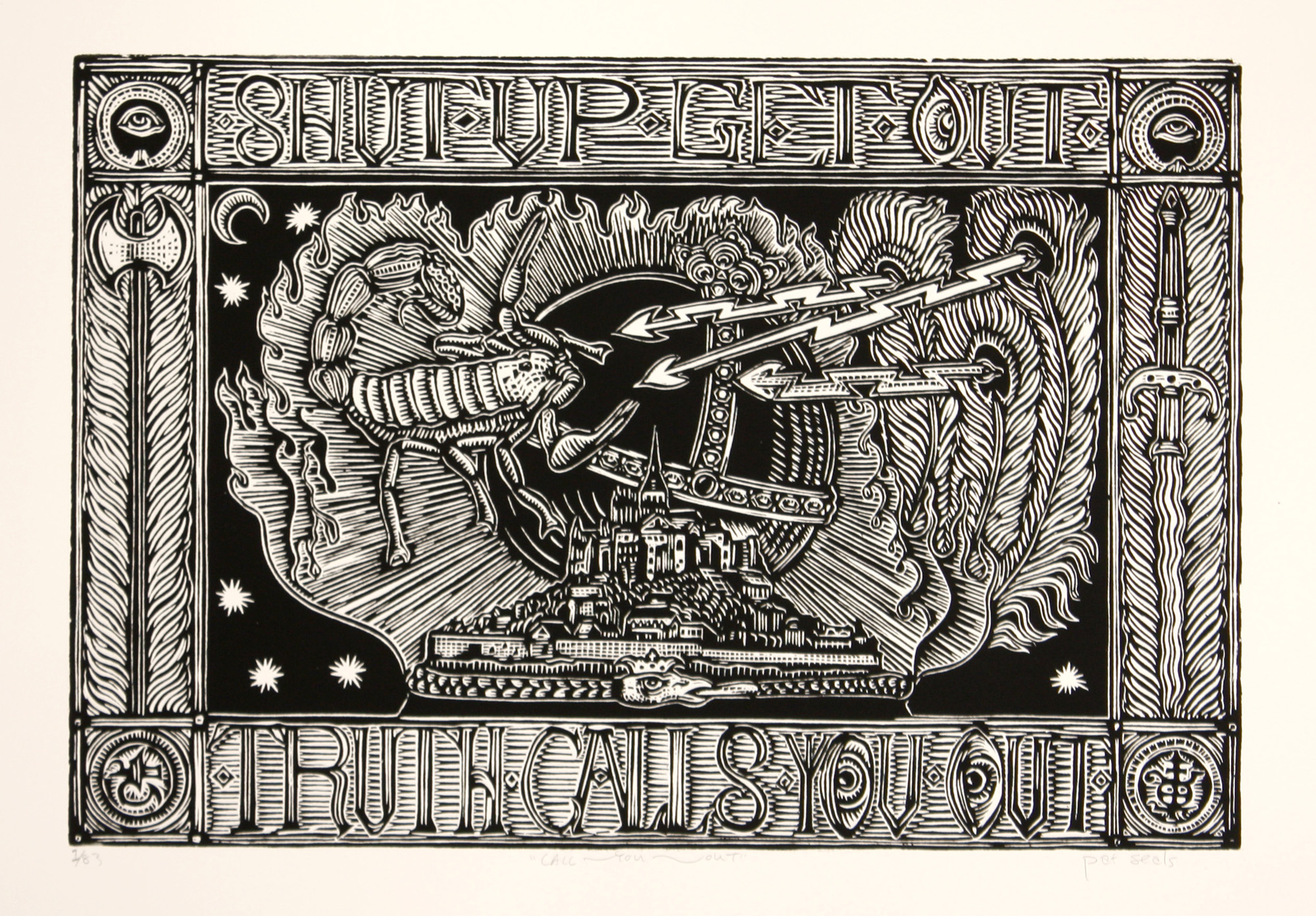 Pat Seals   Call You Out   woodcut  edition of 83