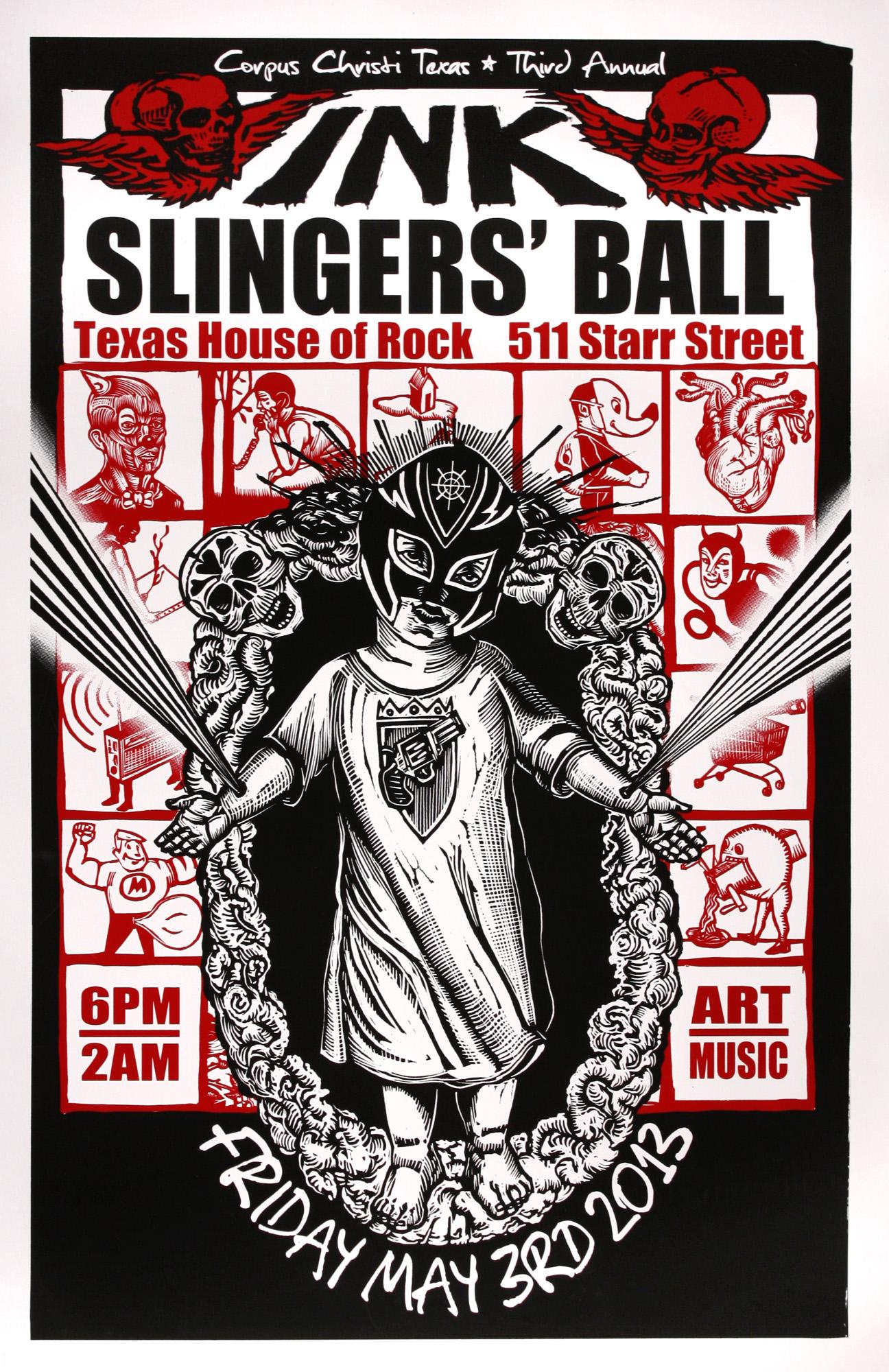 Marc Brunier-Mestas   Inkslingers' Ball   screenprint  2013