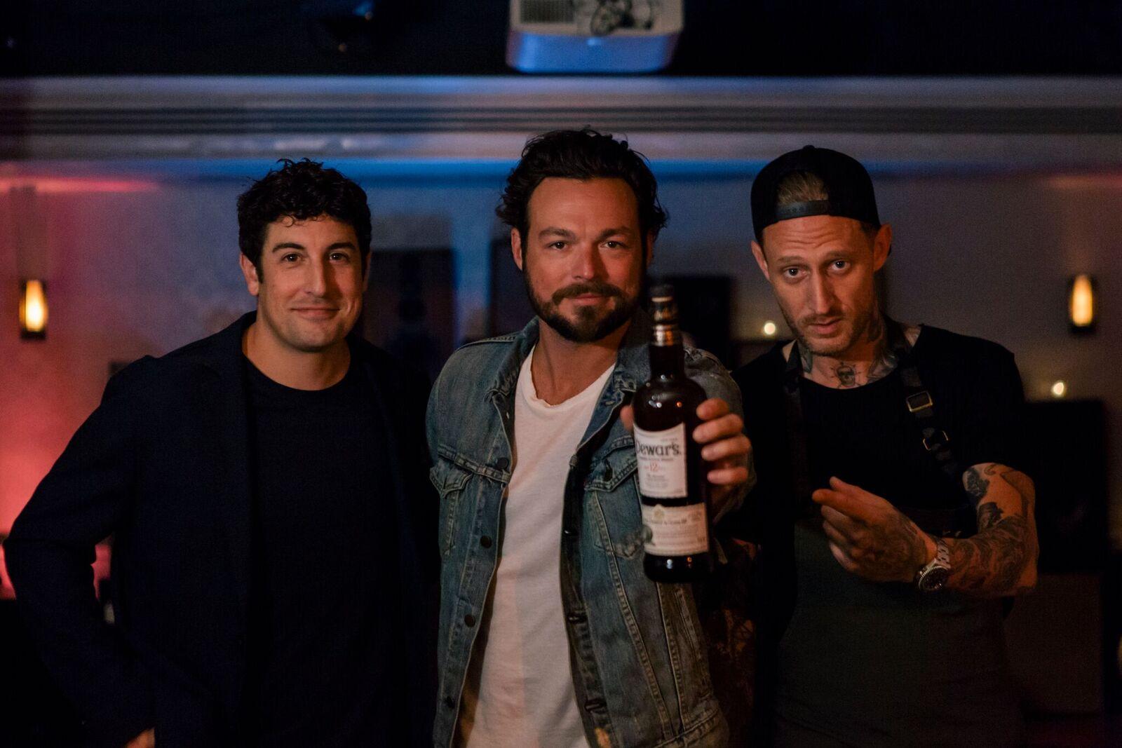 Jason Biggs, Gavriel Cardarella, and Michael Voltaggio at Dewar's Scotch Egg Club