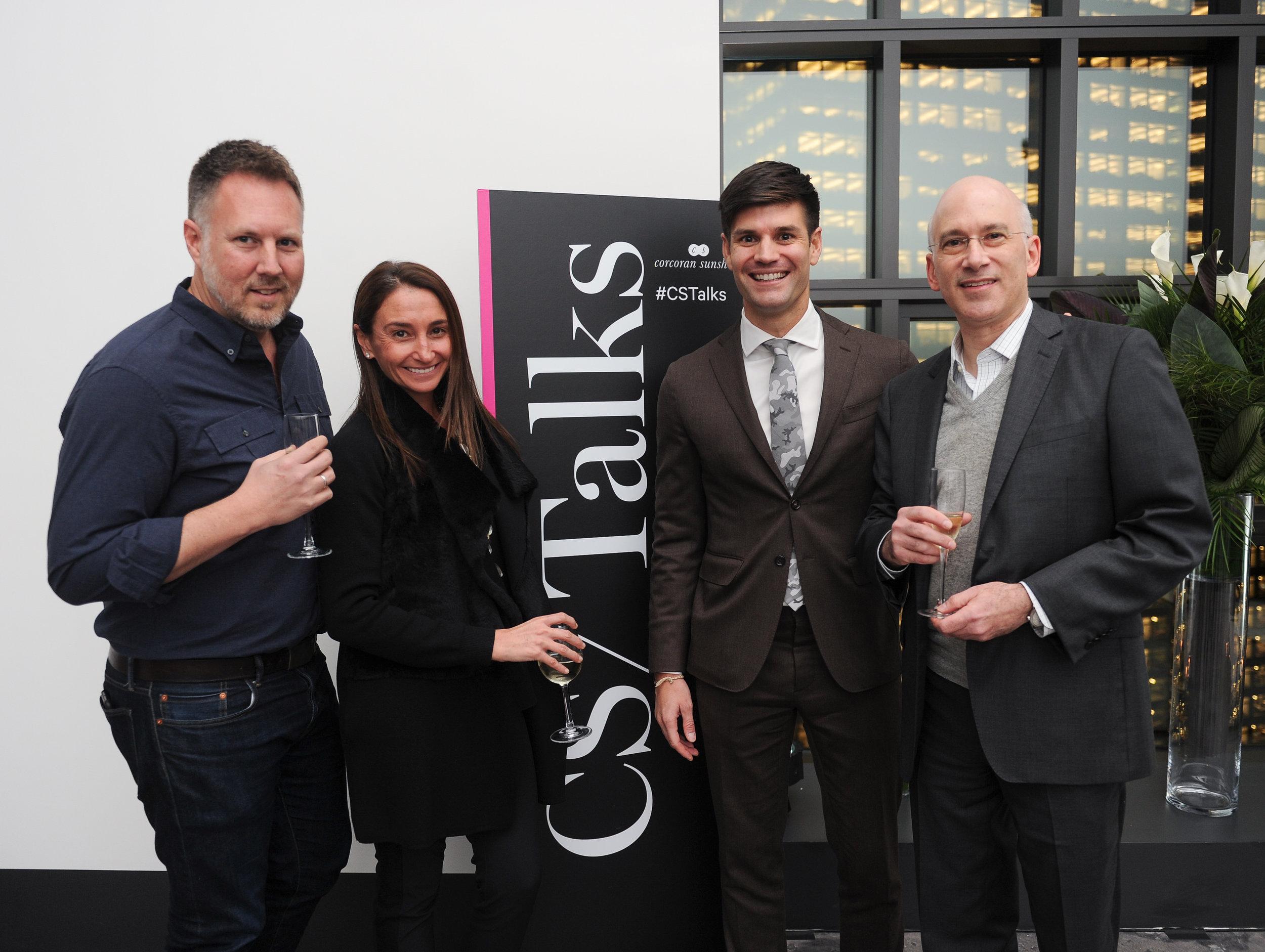 Designer Brad Ford, Kelly Mack, President of Corcoran Sunshine, Carlo Romero of Corcoran Sunshine and Stuart Marton of Magnum Real Estate Group at 100 Barclay
