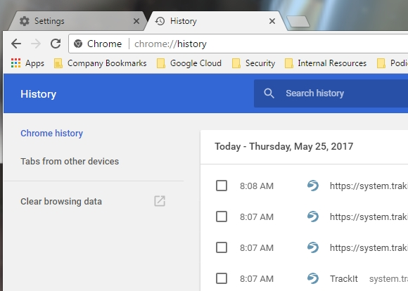 Use CTRL+H on your keyboard with Chrome open to access the History menu.