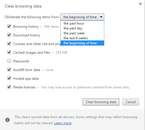 If you have the browser save passwords you may want to deselect that option while selecting all the others options.