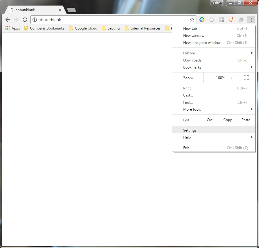 Settings is found under the menu in Chrome.