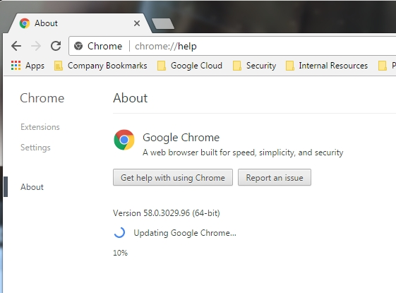 If you need an update, the About menu will prompt Chrome to update.