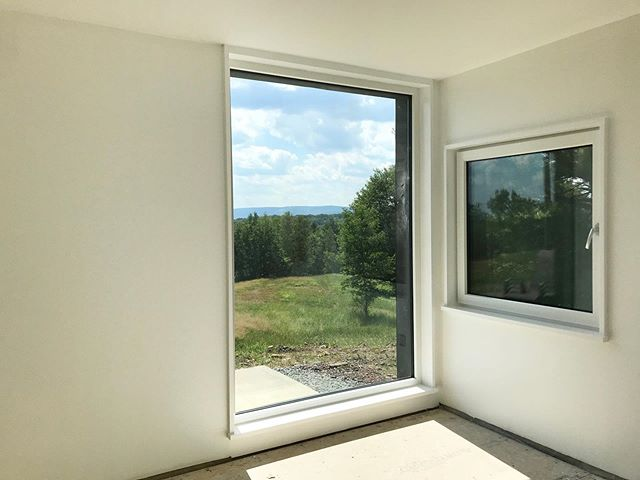 Nearing completion on another #upstate gem. . . . #passivehouse #upstateny #cabinlife #cabin #whiteinteriors #views #netzero #netzerohome #escapebrooklyn #catskills #hvarchitecture #modernarchitecture