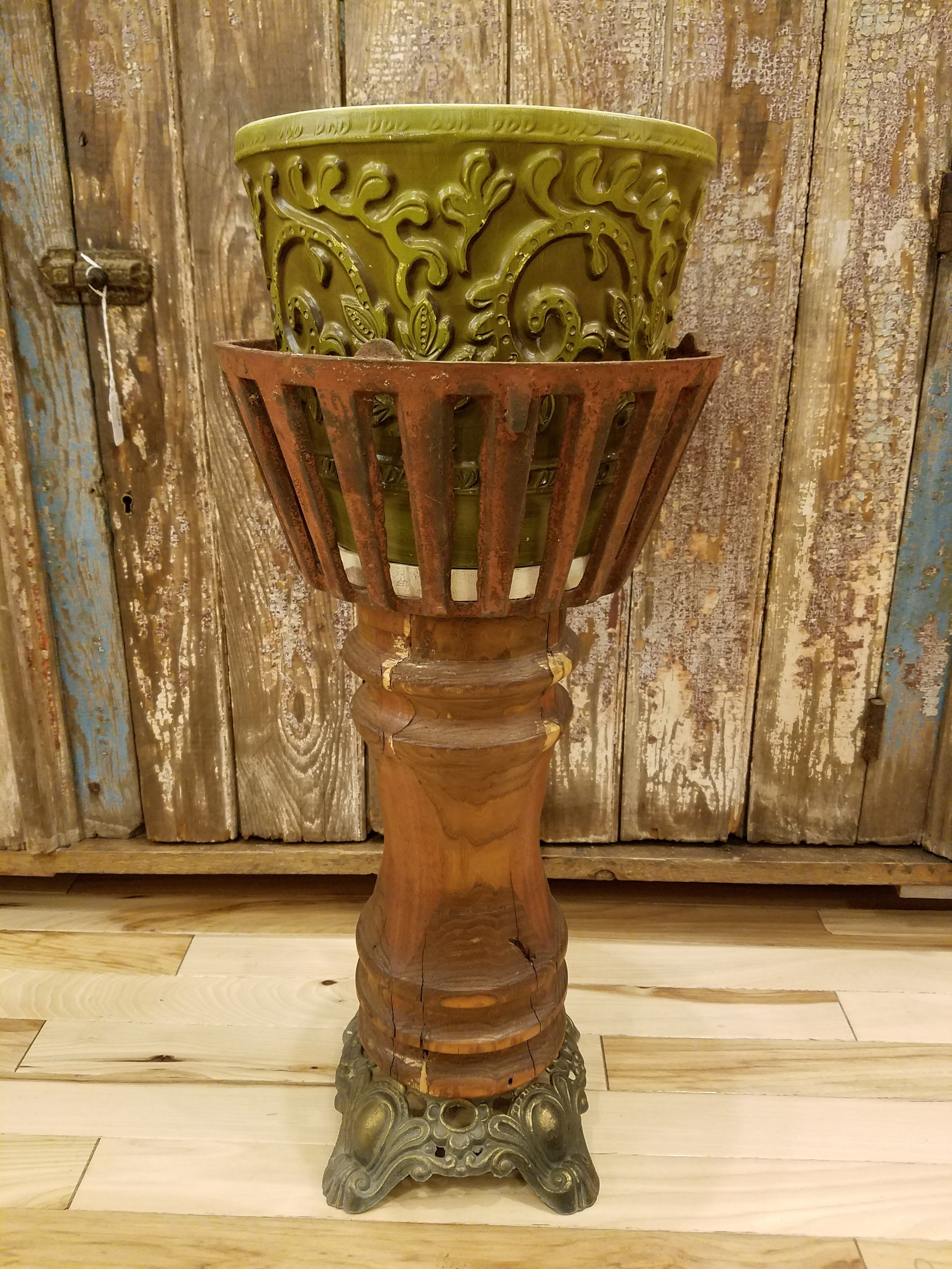 Plant Stand Made From Repurposed Lamp Base and Old Metal Basket