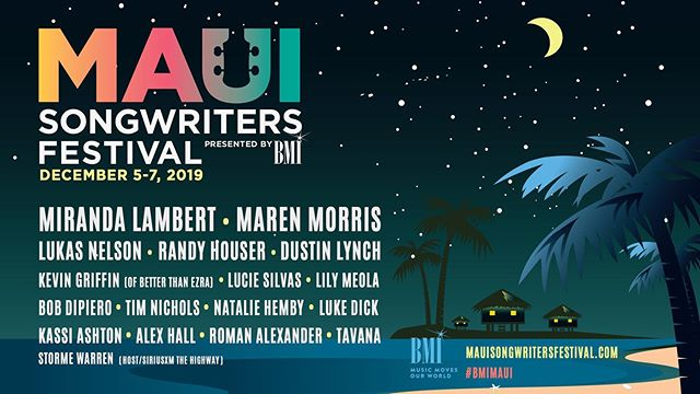 GUYS... IM GOING TO PLAY IN HAWAII! So happy to be part of @BMI's 5th Annual Maui Songwriters Festival this year! Be sure to visit www.mauisongwritersfestival.com for all the info and updates. Tickets on sale 8/25. #BMIMaui