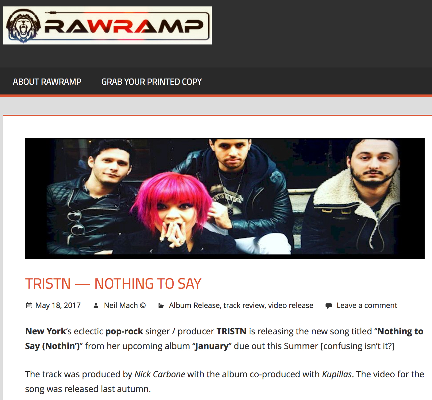 "RAW RAMP MAGAZINE - We had a listen:This is pure,  slippery and abrasive architectural happiness.With angular blocks of sound pushed against the sweet chirruping voice.The melody lines remind us of ""Hey! You! Get off of my cloud"" [Stones, 1965] with the kind of disjointed yet highly effective production [Trevor Horn] that we might associate with those synth-rock Russian superstars T.A.T.U.A triumphantly joyous fragment of heart chips.By Neil Mach"