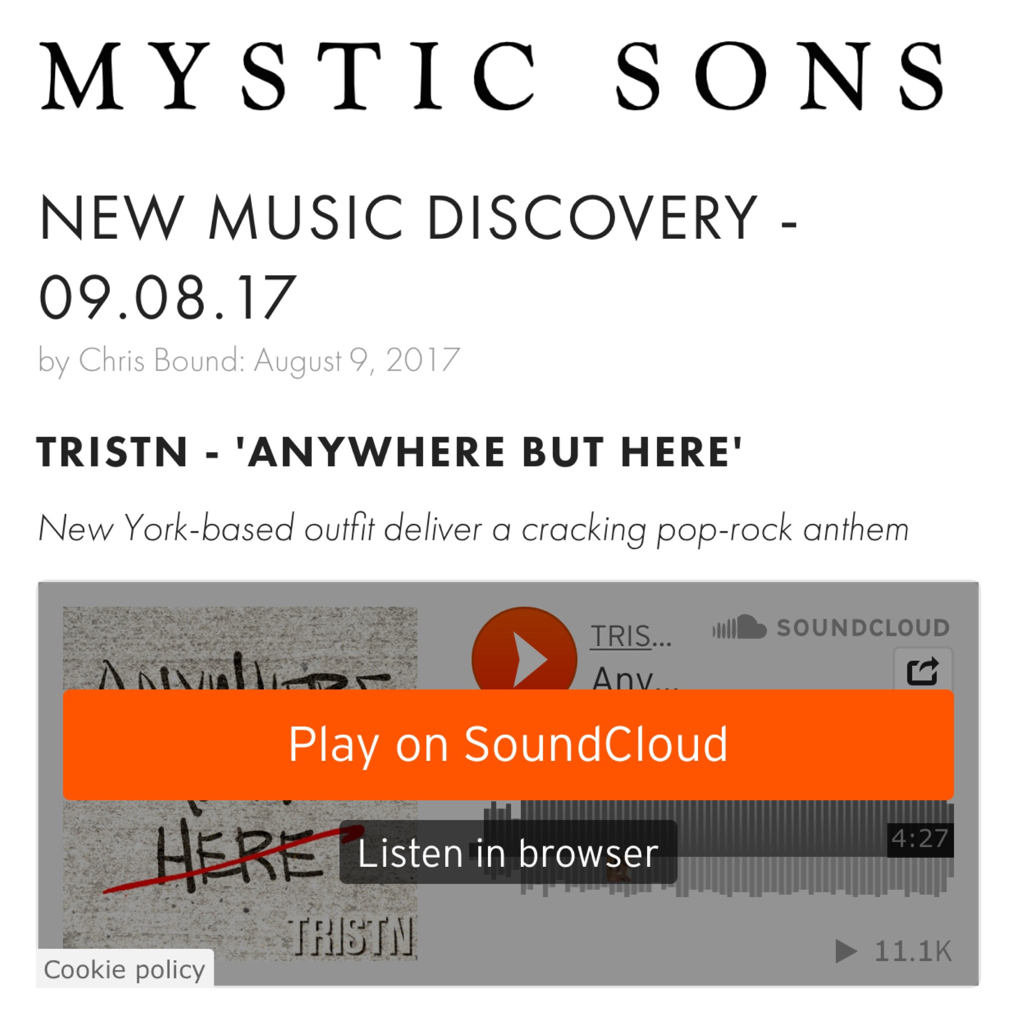 MYSTIC SONS NEW MUSIC DISCOVERY - NEW YORK- BASED OUTFIT DELIVERS A CRARCKING POP-ROCK ANTHEM