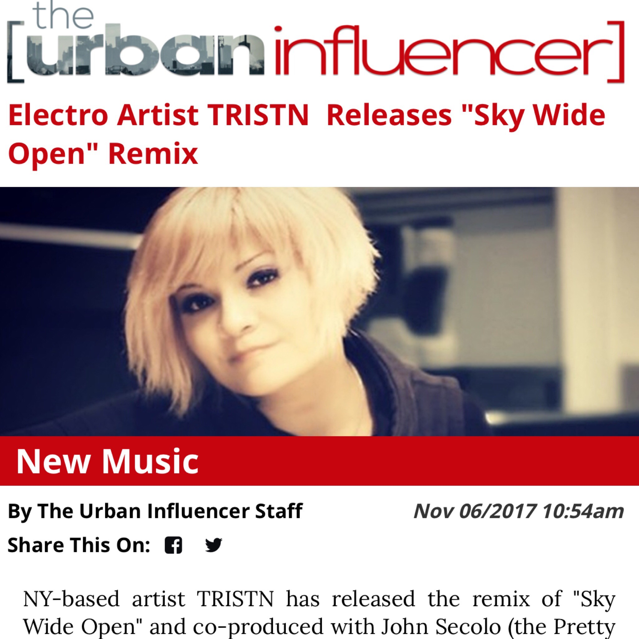 URBAN INFLUENCER - NY-based artist TRISTN has released the remix of