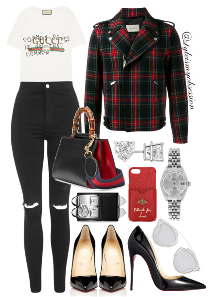 Style Inspiration Plaid Lumberjack Gucci Plaid Biker Jacket Gucci Printed T-shirt Topshop Moto Ripped Joni Skinny Jeans Gucci Nymphaea Bag Christian Louboutin So Kate Pump.PNG