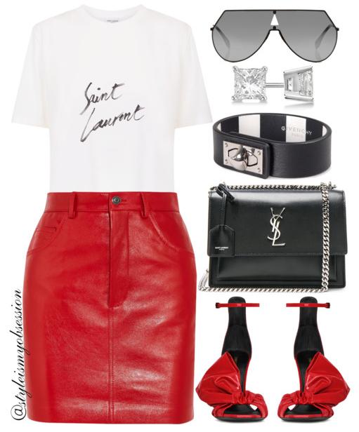 Style Inspiration Welcome To the 80s Saint Laurent Logo T-shirt Vetements Leather Mini Skirt Saint Laurent Freja Sandal Saint Laurent Medium Monogram Bag.PNG