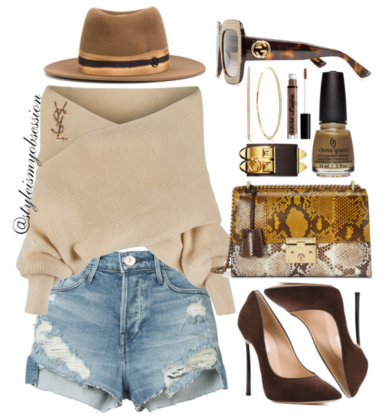 Style Inspiration China Glaze Street Regal Fall 2017 Truth Is Gold With Chic Off The Shoulder Sweater 3X1 Denim Shorts Casadei Blade Pump Gucci Padlock Python Bag Maison Michel Thadee Fedora Hat.PNG