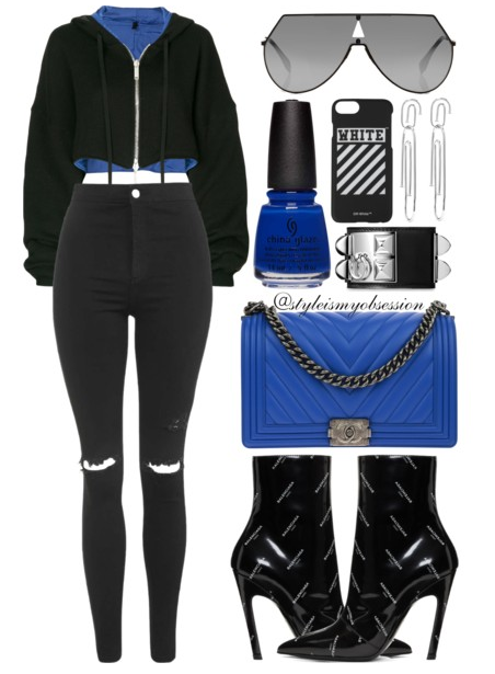 Style Is My Obsession x China Glaze Street Regal Fall 2017 Collection Born To Rule Unravel Cropped Hoodie Topshop Joni Moto Jeans Balenciaga Logo Boot Chanel Boy Bag Fendi Shield Sunglasses.PNG