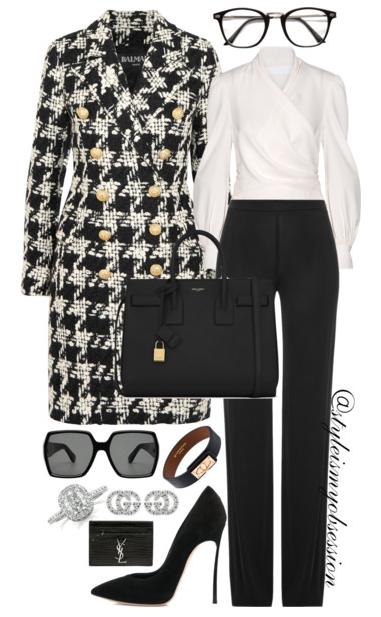 Style Inspiration Boss Moves Balmain Houndstooth Coat Co Crepe Wrap Blouse Emilio Pucci Pants Casadei Blade Pump Saint Laurent Sac De Jour Bag.PNG