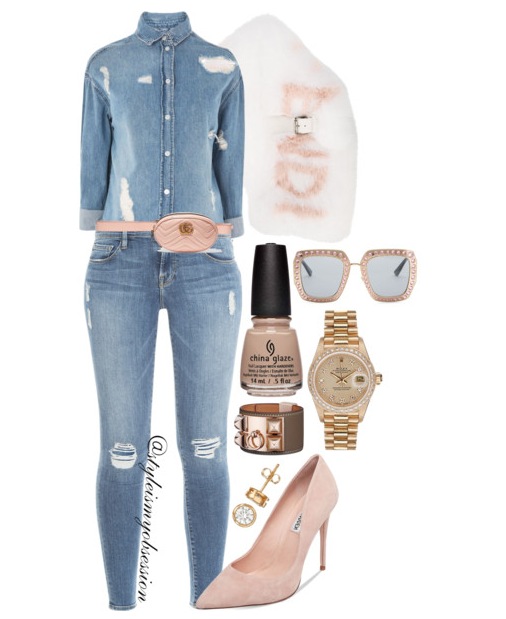 Style Inspiration China Glaze Street Regal Fall 2017 Collection Throne-In Shade Topshop Ripped Denim Shirt Frame Denim Le Skinny Jeans Steve Madden Daisie Pump Gucci Belt Bag Fendi Fox Fur Scarf.PNG