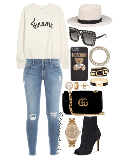 Style Inspiration Frame of Mind Frame Denim Sweatshirt Frame Denim Le Skinny Jeans Aldo Peep Toe Knit Bootie Gucci GG Marmont Mini Velvet Bag Gucci Swarvoski Crystal Square Sunglasses.PNG